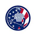 American Coal Miner Usa Flag Icon by Aloysius Patrimonio