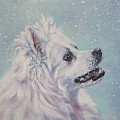 American Eskimo Dog In Snow by Lee Ann Shepard