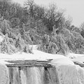 American Falls In Winter In Black And White by Karen Foley
