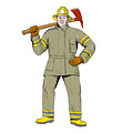 American Firefighter Fire Axe Drawing by Aloysius Patrimonio