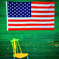 American Flag And Colorful Chair by Garry Gay