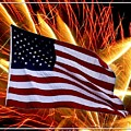 American Flag And Fireworks by Rose Santuci-Sofranko