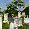 American Flag In Historic Uniontown Cemetery Maryland by James Brunker