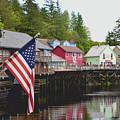 American Flag On Creek Street Ketchikan Alaska by Barbara Snyder