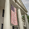 American Flag On Period House by Edward Fielding