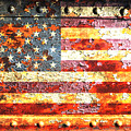American Flag On Rusted Riveted Metal Door by M L C
