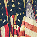 American Flags Painted Square Format by Edward Fielding