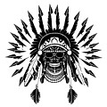 American Indian Skull Icon Background, Black And White  by Maja Brncic