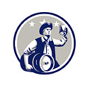 American Patriot Carry Beer Keg Circle Retro by Aloysius Patrimonio
