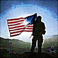 American Soldier With Flag by Jonny Biermann