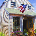 Bike And Usa Flag - Americana Series 04 by Carlos Diaz