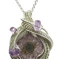 Amethyst Stalactite Slice Druzy Wire-wrapped Pendant In Tarnish-resistant Sterling Silver by Heather Jordan