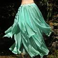 Ameynra Design Aqua-green Chiffon Skirt by Sofia Metal Queen