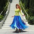 Ameynra Fashion. Petal Skirt. Model Sofia by Sofia Metal Queen