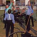 Amish Boys Play Volleyball Farm by Blair Seitz