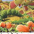 Amish Country - Pumpkin Patch Country Farm Landscape by Walt Curlee