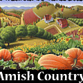 Amish Country T Shirt - Appalachian Pumpkin Patch Country Farm Landscape 2 by Walt Curlee