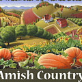 Amish Country T Shirt - Pumpkin Patch Country Farm Landscape 2 by Walt Curlee