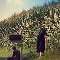 Amish Girls Watermelon Break by Beth Ferris Sale