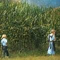 Amish Siblings In Cornfield  by Beth Ferris Sale