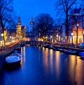 Amsterdam - A Canal Scene At Night . L B by Gert J Rheeders