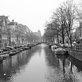 Amsterdam Canal Black And White 2 by Carol Groenen