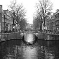 Amsterdam Canal Bridge Black And White by Carol Groenen