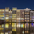 Amsterdam Canal Houses At Night by Andrew Balcombe