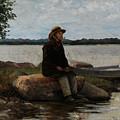 An Angler Ca. 1890 by Adolf Von Becker