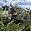 An Estemmenosuchus Mirabilis Stands by Walter Myers