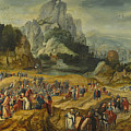 An Extensive Landscape With The Preaching Of Saint John The Baptist And The Baptism Of Christ by Herri met de Bles