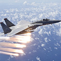An F-15 Eagle Releases Flares by HIGH-G Productions