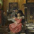 An Interior With A Woman Refusing A Glass Of Wine by PixBreak Art