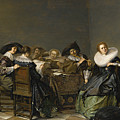 An Interior With Musicians Seated Around A Table  by Pieter Codde