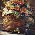 An Old Basket With Flowers by Jimmie Trotter
