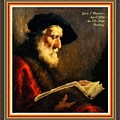 An Old Man Reading P A With Decorative Ornate Printed Frame by Gert J Rheeders