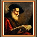 An Old Man Reading P B With Decorative Ornate Printed Frame. by Gert J Rheeders