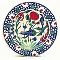 An Ottoman Iznik Style Floral Design Pottery Polychrome, By Adam Asar, No 1a by Adam Asar