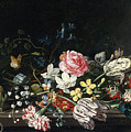 An Overturned Vase Of Flowers Resting On A Ledge by Jacob Marrel