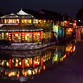 Ancient Style Restaurant On Water By Stone Bridge by Josephine Cleopahrt