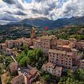 Ancient Village Of Sarnano Italy, Marche, Macerata - Aerial View by David Daniel