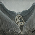 Angel At Twilight - Charcoal - 8 X 12 by B Nelson