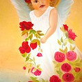 Angel Surrounded By Red Roses by Xafira Mendonsa