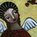 Angel With Bird Of Peace by Julie-ann Bowden