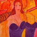 Angelina Joulie Cubistic Painting by Stanley Morganstein