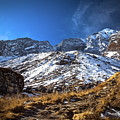 Annapurna Trail With Snow Mountain Background In Nepal by Katesalin Pagkaihang