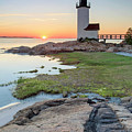 Annisquam Lighthouse Sunset Vertical by Katherine Gendreau