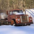 Antique Grungy Truck In Snow by John Stephens