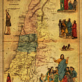 Antique Map Of Palestine 1856 On Worn Parchment by Design Turnpike