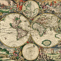 Antique Map Of The World - 1689 by Marianna Mills